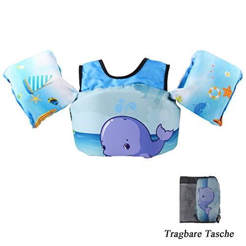 VIEKUU Schwimmflügel Schwimmwesten mit Schultergurt für Kinder von 2-6 Jahre 15-25kg Schwimmweste für Kleinkinder Schwimmen zu Lernen Schwimmhilfe für Jungen und Mädchen, Blau Wal