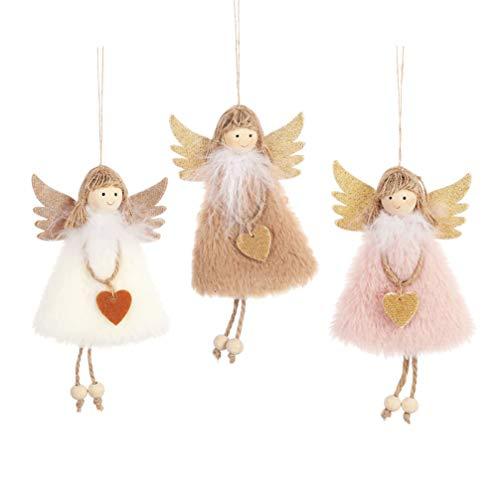 NUOBESTY 3 Pezzi Ornamenti Natalizi appesi ad Albero di Natale Decorazioni per Albero di Natale Decorazioni Natalizie bomboniere Regali (Kaki Rosa Bianco)