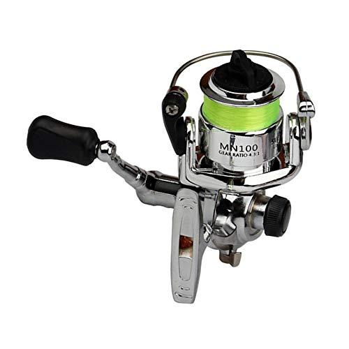 Libertroy Tamaño portátil de Alta Resistencia Aleación de Aluminio Spinning Carrete de Pesca Aparejos de Pesca Pequeño Spinning Reel 4.3: 1 Accesorios de Pesca - Plata