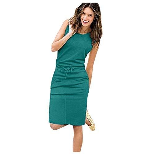 HZD Kleidung Frauen Casual Ärmelloses Kleid mit O-Ausschnitt Mode Einfarbiges Frauenkleid Sommer-Sommerkleid,Mint Green,XXL