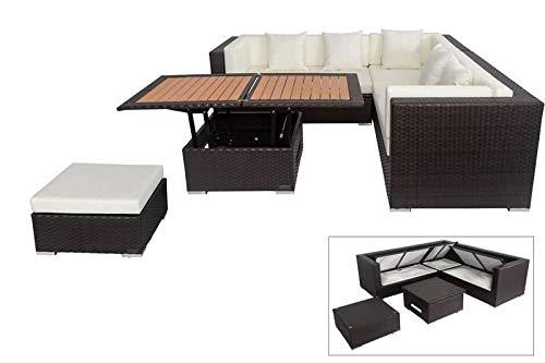 OUTFLEXX Loungemöbel-Set, braun, Polyrattan, 6 Personen, wasserfeste Kissenbox, inkl. Loungetisch