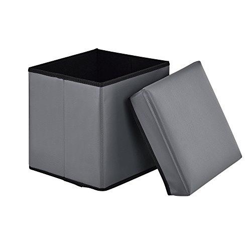 [en.casa]®] Taburete de Almacenamiento Plegable (30 x 30 x 30 cm) (Gris)...