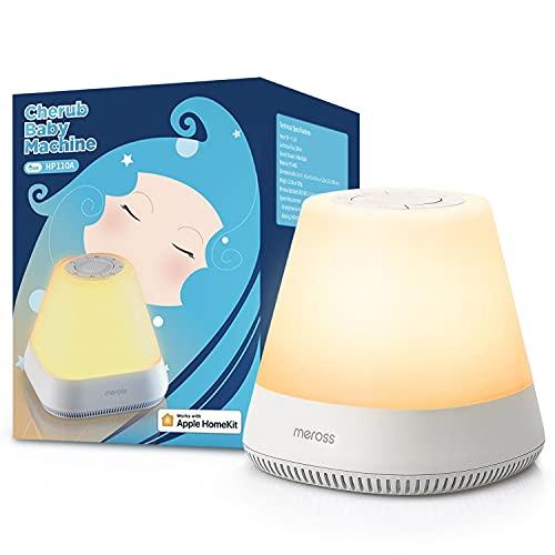 Meross, Lámpara de noche Alexa funciona con HomeKit, Meross Baby Smart LED para dormir, máquina de ruido blanco, Lámpara regulable para dormitorio, habitación de bebé, compatible con Alexa y Google