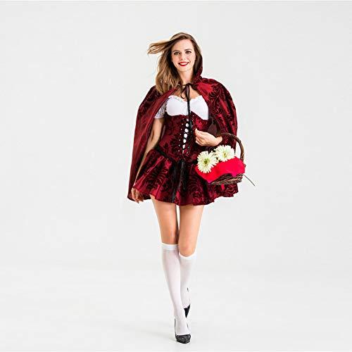 GBYAY Disfraz de Caperucita roja para Mujer Adulta Vestido de Bordado de Dama de Halloween + Capa Cosplay Fantasia Uniforme de Juego