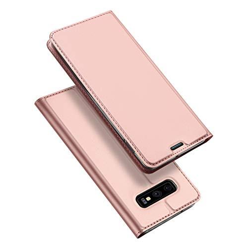 DUX DUCIS Hülle für Samsung Galaxy S10E, Leder Flip Handyhülle Schutzhülle Tasche Hülle mit [Kartenfach] [Standfunktion] [Magnetverschluss] für Samsung Galaxy S10E (Rose Golden)