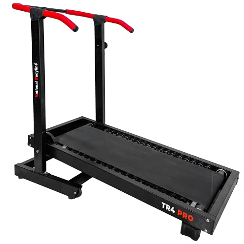 LEEWAY National Bodyline Manual Treadmill Running Machine for Home Gym| Roller Jogging Machine| Foldable Tread Mill | Easy Assembly - Black (TR-04 PRO, Running Surface: 48in x 16in.)