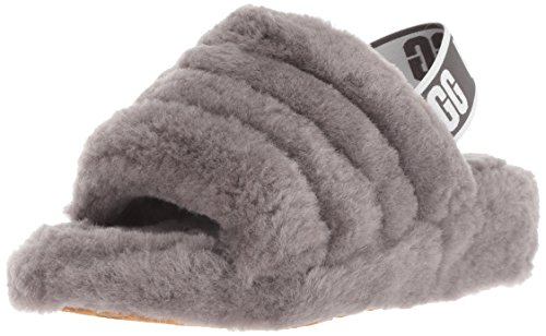 UGG Female Fluff Yeah Slide Slipper, Charcoal, 6 (UK)