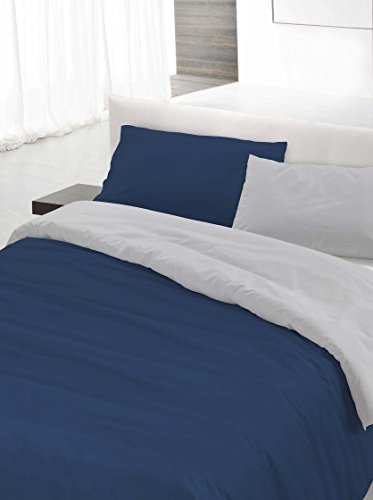 Italian Bed Linen Set Copripiumino Matrimoniale Blu/Grigio 250 x 200 cm