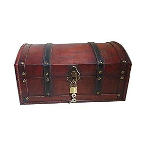 Infinimo Cofre del tesoro – Cofre de madera, cofre pirata, caja de regalo, con tapa y candado con llave, 30 x 20 x 15 cm