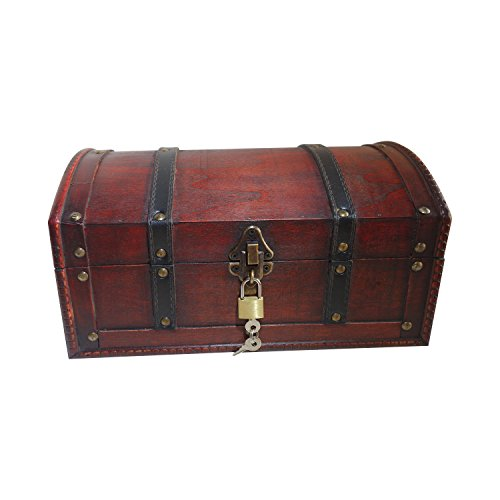 Pirate Treasure Chest Wooden Box by Infinimo. Storage Box / Gift Box with Lockable Lid and Lock with Keys – 30x20x15 cm Large