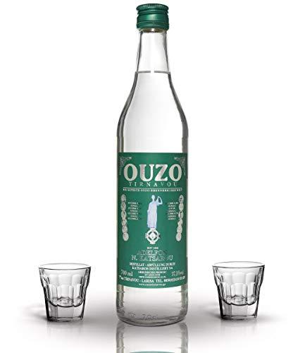 Premium Ouzo mit gläsern | OUZO GESCHENK SET | Anis likör aus Griechenland | Anis schnaps | mild | Geschenk Set | 2x Original Ouzo Gläser | USO | UZO | 1x 700ml Glas Flasche