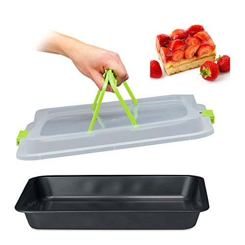 Relaxdays Backblech mit Deckel, 3in1 Kuchen Transportbox, 40 x 32,5 cm, hoher Rand, Kuchenblech rechteckig, grün/schwarz