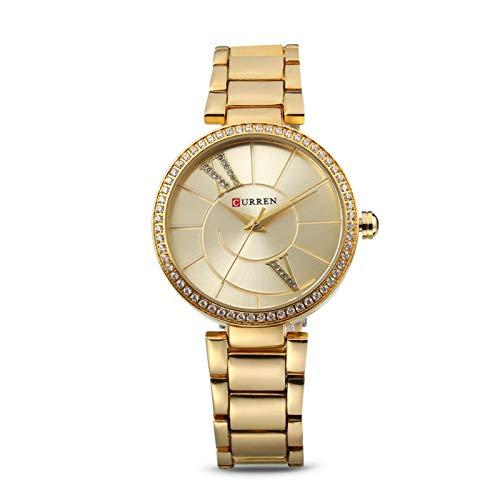 DAUERHAFT 2 Colores Curren Mujer Banda de Acero Reloj de Cuarzo Informal Impermeable, Caja de aleación Premium, antialérgico, para Mujeres niñas(Oro)