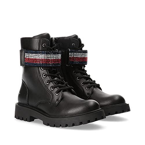 Tommy Hilfiger Damen Stiefel Lace-Up Bootie Stiefellette Biker-Boot\'s Strasssteine, Farbe:Schwarz, Größe:EUR 37
