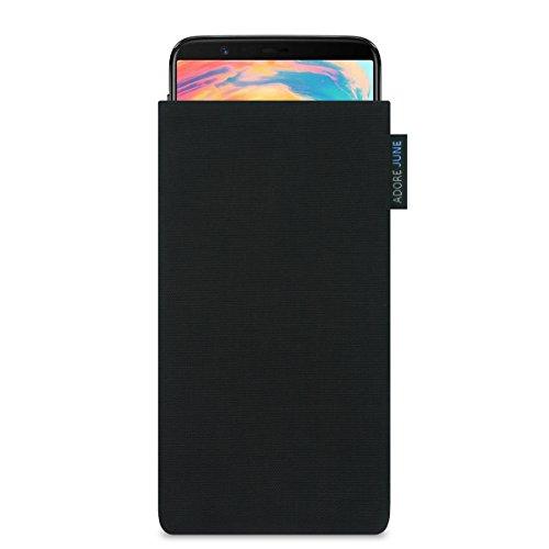 Adore June Classic Schwarz Tasche für OnePlus 5T & OnePlus 6 Handytasche aus beständigem Cordura Stoff | Robustes Zubehör mit Bildschirm Reinigungs-Effekt | Made in Europe