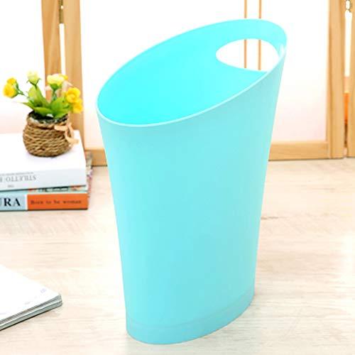 Hwerkf Trash Can, Simple sans Couverture, WC Cuisine Salon Chambre Maison, Poignée Design, Grande capacité 12L, Blanc/Bleu (Color : Bleu)