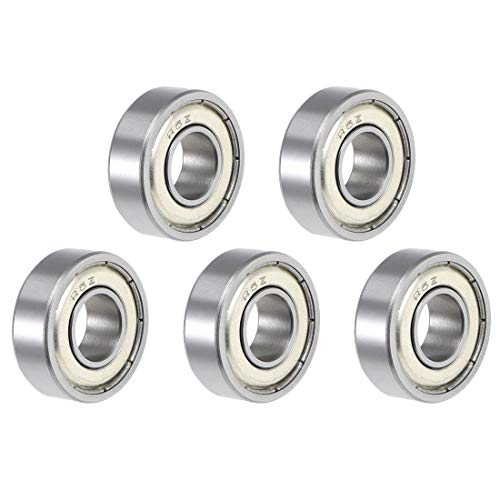 """uxcell R6ZZ Deep Groove Ball Bearing 3/8""""x7/8""""x9/32"""" Double Shielded ABEC-5 Bearings 5-Pack"""