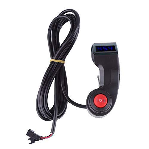Clasken Voltímetro automático con Interruptor de 3 velocidades, voltímetro de Bicicleta de batería preciso Negro Pulgar, para Motocicleta vehículo eléctrico