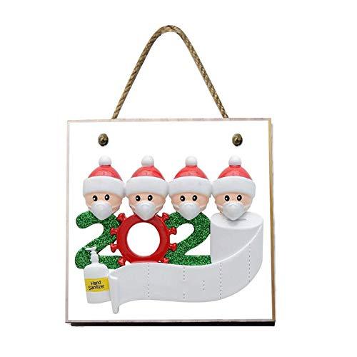 WT-DDJJK Decoración navideña, 2020 Adornos Colgantes de árbol de Navidad Feliz, decoración navideña Personalizada para la Familia, Madera, Rebajas de Black Friday 2020