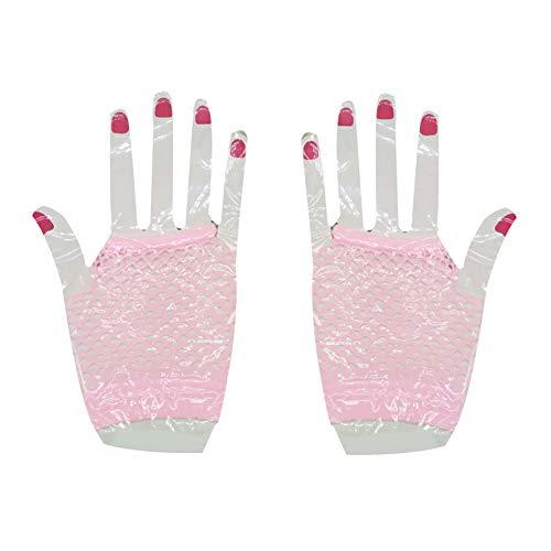 Whiie891203 Winterhandschuhe, fingerlos, Netz-Handschuhe, Neonkleid, Party, Junggesellinnenabschied, Zubehör – Schwarz, Rose