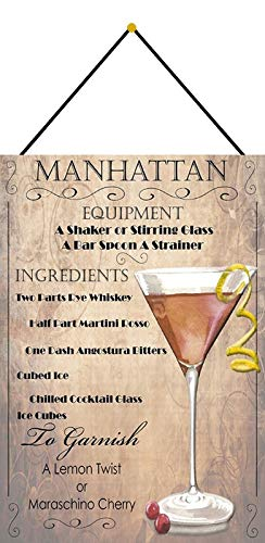 Metalen bord 20 x 30 cm gebogen met koord cocktails recept Manhattan whiskey Martini decoratief geschenk bord