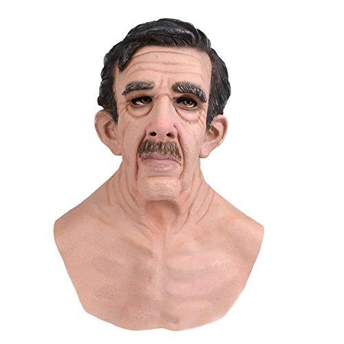 HUA JIE Máscara de látex Máscara de Anciano Cabeza Humana Realista Hallowen Vestido de Lujo Máscaras de Accesorios de Cosplay