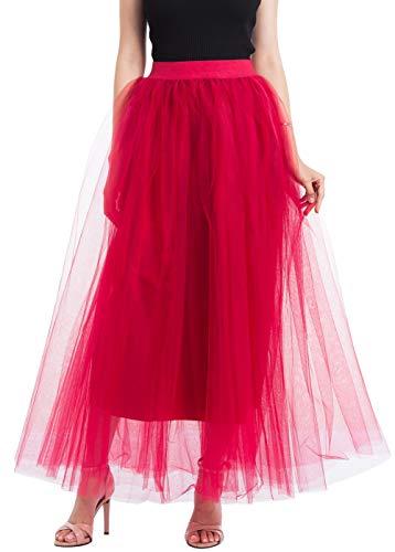 Happy Cherry - Falda de Gasa Faldas Princesas para Mujer Cancan Largo de Tul de Chicas Vestido Ballet con Capas para Disfraces Boda