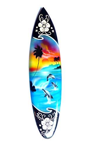 Miniatur Deko Surfboard Surfbrett Holz Wellenreiten Höhe 30 cm inkl. Holzständer Dekoration Nr 3
