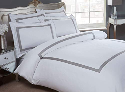 Dorchester Oceania Duvet Cover Set, 100% Egyptian Cotton, 300 Thread Count, White and Silver-Double