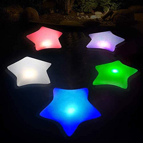 Inflables Estrella Luz Piscina Flotante, Lámparas Solares IP68 Impermeable Luz Solar Jardin con Cambio Automático de Color, Luces Nocturnas Colgables Luces Seguridad para Decoración Interior/Exterior