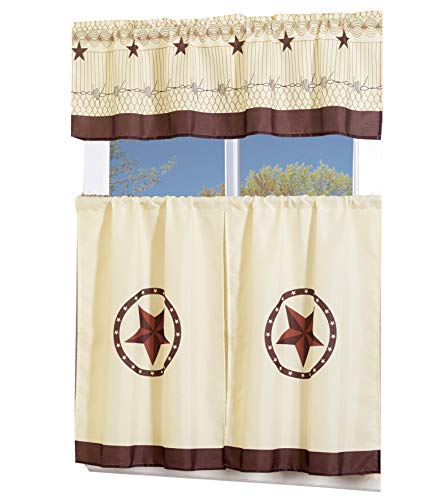 MarCielo 3 Piece Printed Western Texas Star Kitchen/Cafe Curtain With Swag and Tier Window Curtain Set, Beige