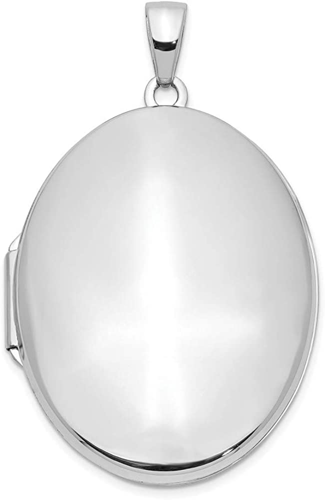 14k White Gold Oval 33mm Locket Pendant Charm Necklace Fine Jewelry For Women Gifts For Her