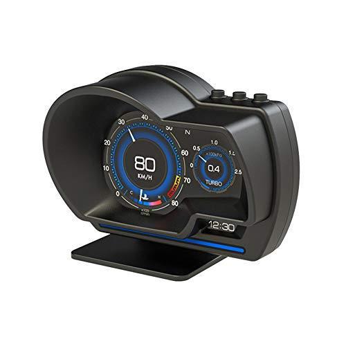 Pantalla HUD Universal, MoreChioce OBD + GPS Sistema Dual HUD Multifuncional para Automóvil con Luz Ambiental Alarma Velocímetro Navegación Pantalla de Visualización Automática AP-6