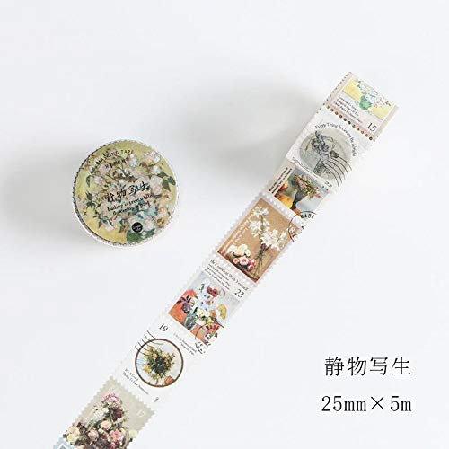 TUVWRP 25mm x 5m Sello Tema Washi Tape Diy Scrapbooking Etiqueta Etiqueta Cinta de Enmascarar Escuela de Suministros de Oficina Papelería JaponesaI
