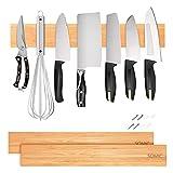 Barra Magnetica per Coltelli Cucina da Parete Porta Magnetico Legno Spezie Calamite da Parete bambù, 30-50cm 1-2pcs