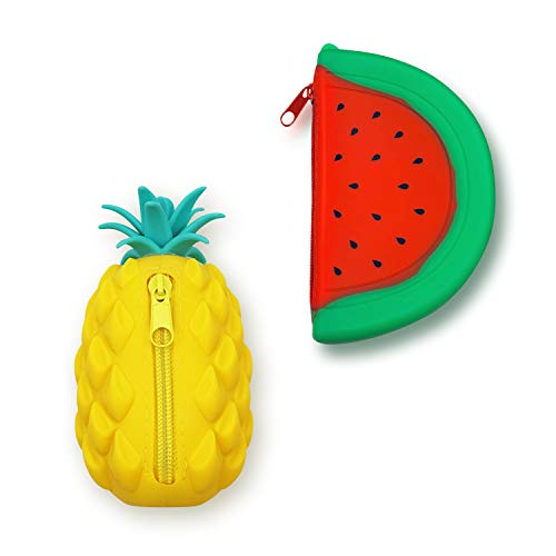 Baroque Royal Cute Silicone Coin Purse Set of 2, Pineapple and Watermelon Fruit Change Holder Bag for Coins, Money, Keys, Lipstick, Durable Silicon Wallet Pouch, Best Gift for Girls and Women