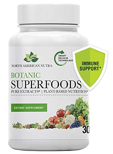 Botanic Superfoods | Dietary Supplement 37 Green Vegetables, Fruits & Botanicals | Nrf2 Phytonutrient 430mg, Full-Spectrum Superfoods 100mg | Immune Support, Antioxidant, Anti-Aging | 30 Caps