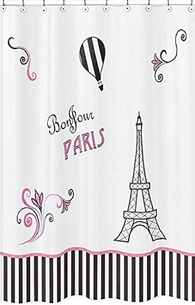 甜美 Jojo 设计巴黎儿童浴室面料浴缸浴帘