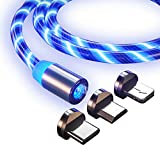 CHEAP BAZAR Magnetic USB 360 Degree Rotation 3 in 1 Fast Charging Data Cable Compatible with All iPhone & USB Type- C & Micro USB Nylon Braided Wire with LED Light | Random Colour