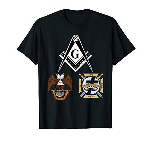 Mens Mason Scottish York Rite T Shirt Masonic Tee Black Down