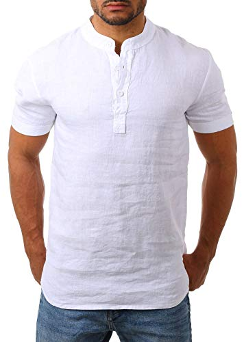 Young & Rich Herren Leinen Shirt mit Knopfleiste Henley Tunika Kurzarm Hemd Regular fit 100{a0d53fcdc89411ec6f2b7c5bb2f93581ee76eab82466bd77b13bd533f5a15e72} Leinen T3143, Grösse:XL, Farbe:Weiß