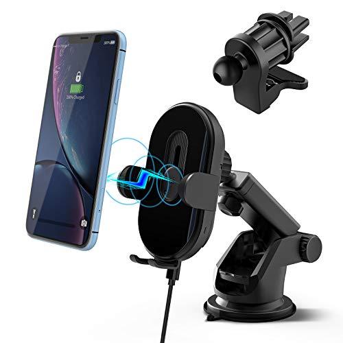 Soporte de teléfono móvil para coche con función de carga – 15 W inalámbrico QI teléfono móvil para iPhone 11/xr Samsung Auto inducción con ventosa clip de ventilación