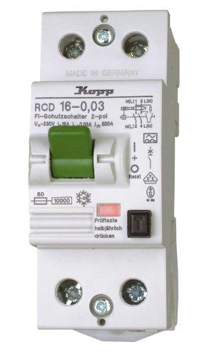 Kopp 751628083 Fehlerstromschutzschalter, 2-polig nach DIN VDE 0664