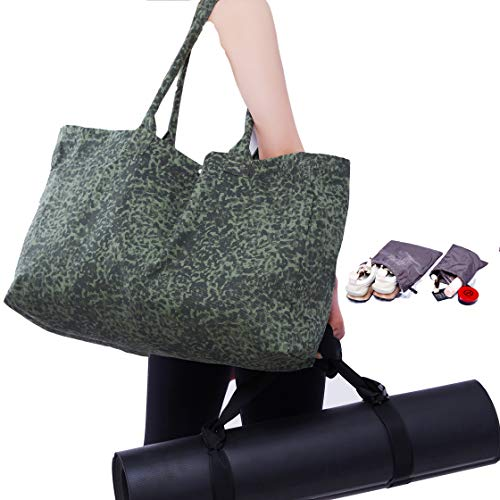 Gym Bag,Canvas Tote,Sports Tote, Dry Wet Separated Tote Bag,+2Water-resistant Storage Bags+Adjustable Yoga Strap