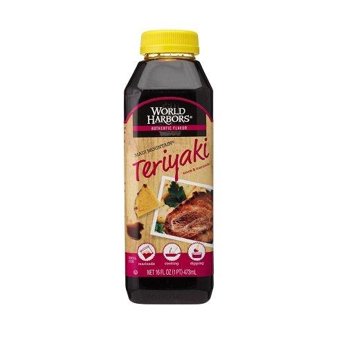 World Harbors Maui Mountain Teriyaki Sauce & Marinade, 16-Ounce Bottle, (Pack of 6)