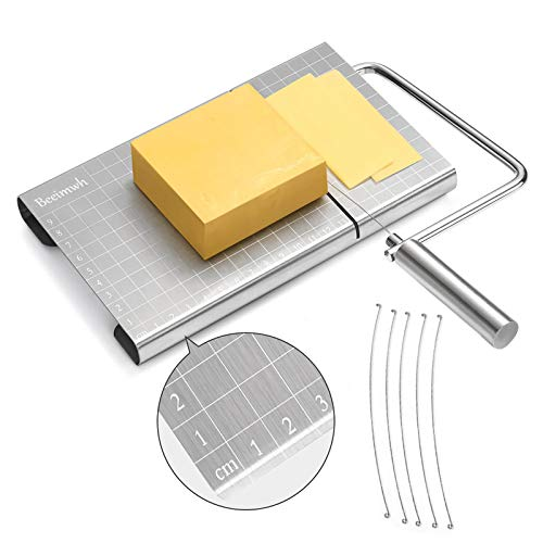 Cheese Slicer Wire,Stainless Steel Cheese Cutter with Accurate Size Scale,Wire Cheese Slicer for Cheese Butter Equipped with 5 Replaceable Cheese Slicer Wires