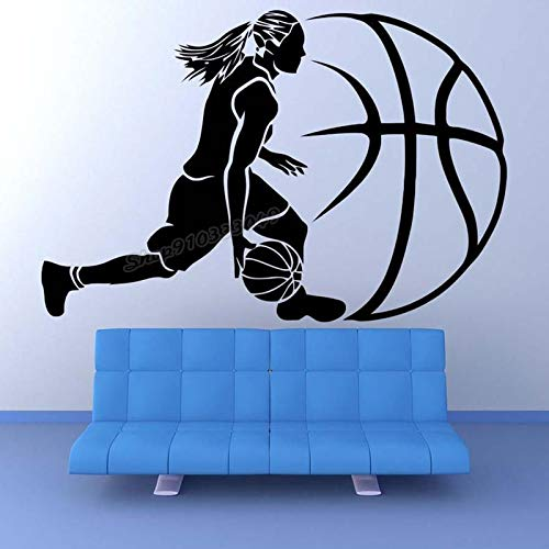 Blrpbc Pegatinas de Pared Adhesivos Pared Baloncesto Jugador de Baloncesto Juego de Pelota Deportiva para decoración de Dormitorio en casa Uso calcomanía de Vinilo artístico 170x114cm