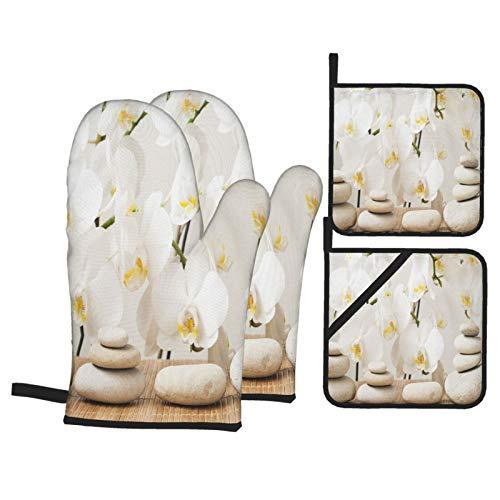 Ensemble de Gants et de maniques résistants à la Chaleur Pierres sur Fond de Fleurs orchidée, Se concentrer sur Les rochers pour Cuisiner,Micro-Ondes,Griller,Cuire
