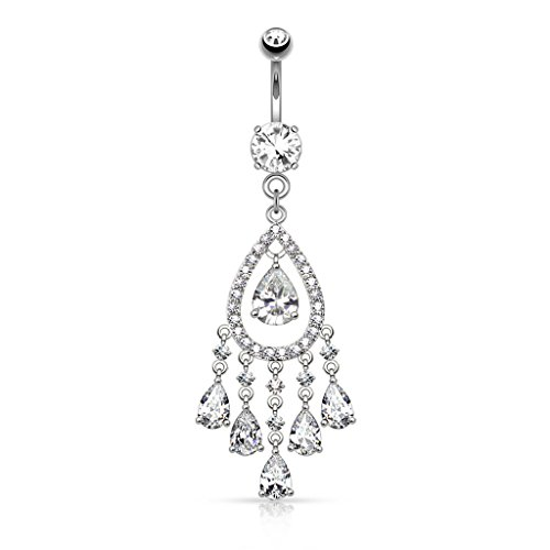 Tear Drop Chandelier CZ Deluxe Dangle Belly Button Ring 14kt Gold Plated 14g Navel Ring (14kt Plated Clear Chandelier)