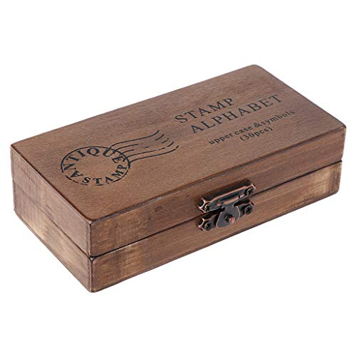 Lyguy rubberen stempel, 30 stuks retro alfabet letter hoofdtas lage kast houten rubberen stempel set ambacht